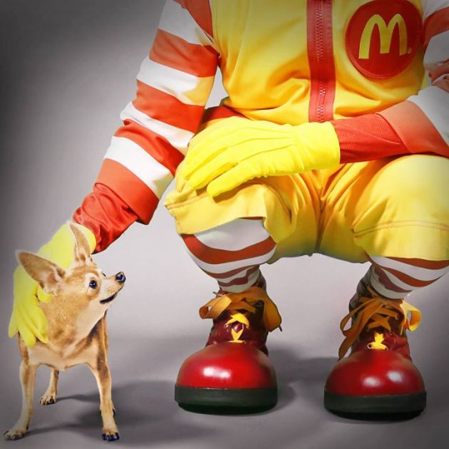 Ronald McDonald with Taco Bell Chihuahua